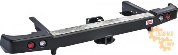 Задний силовой бампер РИФ RIF061-22150 для УАЗ Патриот Пикап с квадратом под фаркоп, с фарами